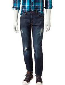 Rustic Blue Slim Fit Destructed Denim Jeans