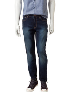 Rustic Blue Dark Indigo Stretch Denim Jeans