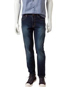 Rustic Blue Dark Indigo Stretch Denim Jeans
