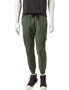 Rustic Blue Solid Color Cargo Jogger Pants