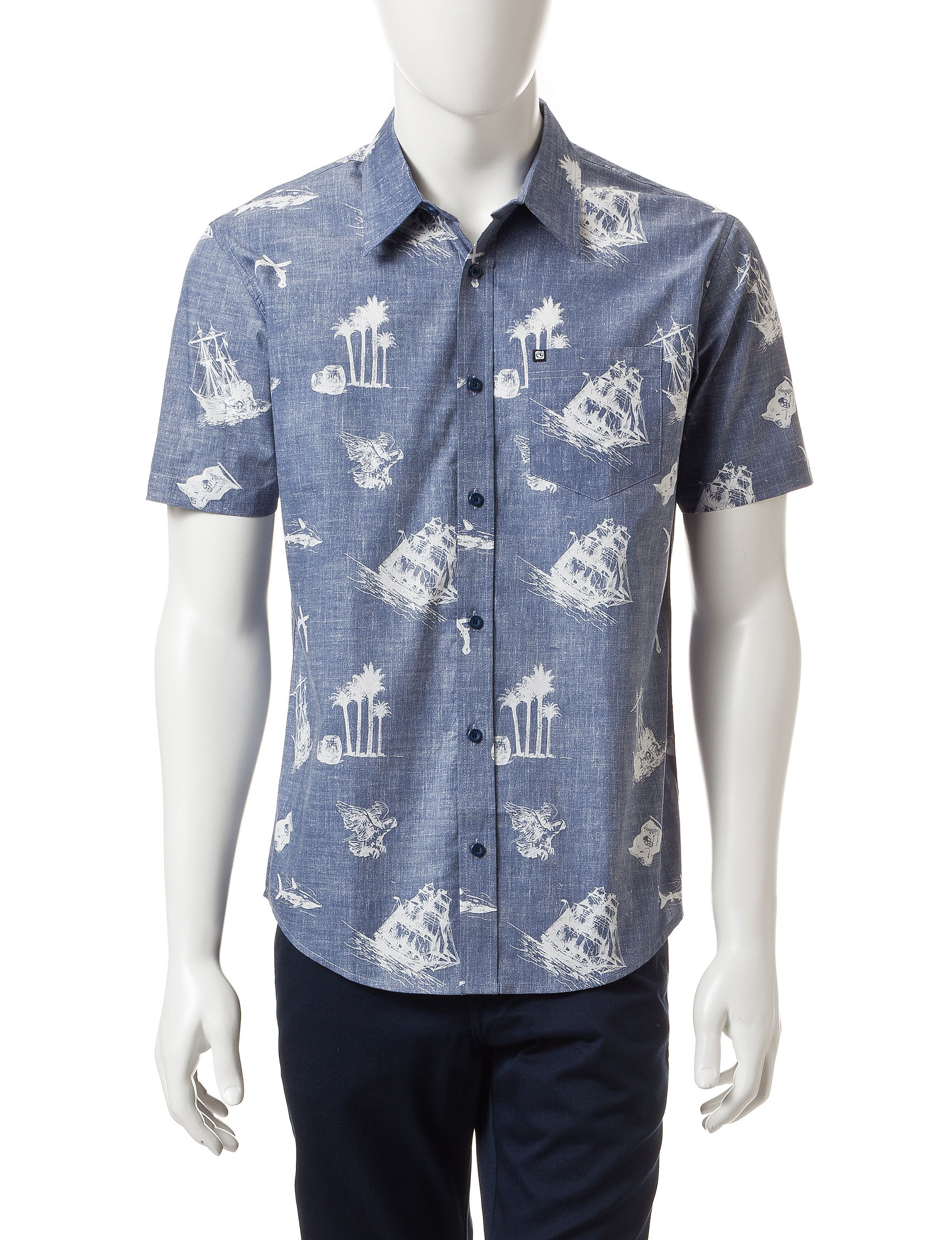 Ocean Current Blue Casual Button Down Shirts
