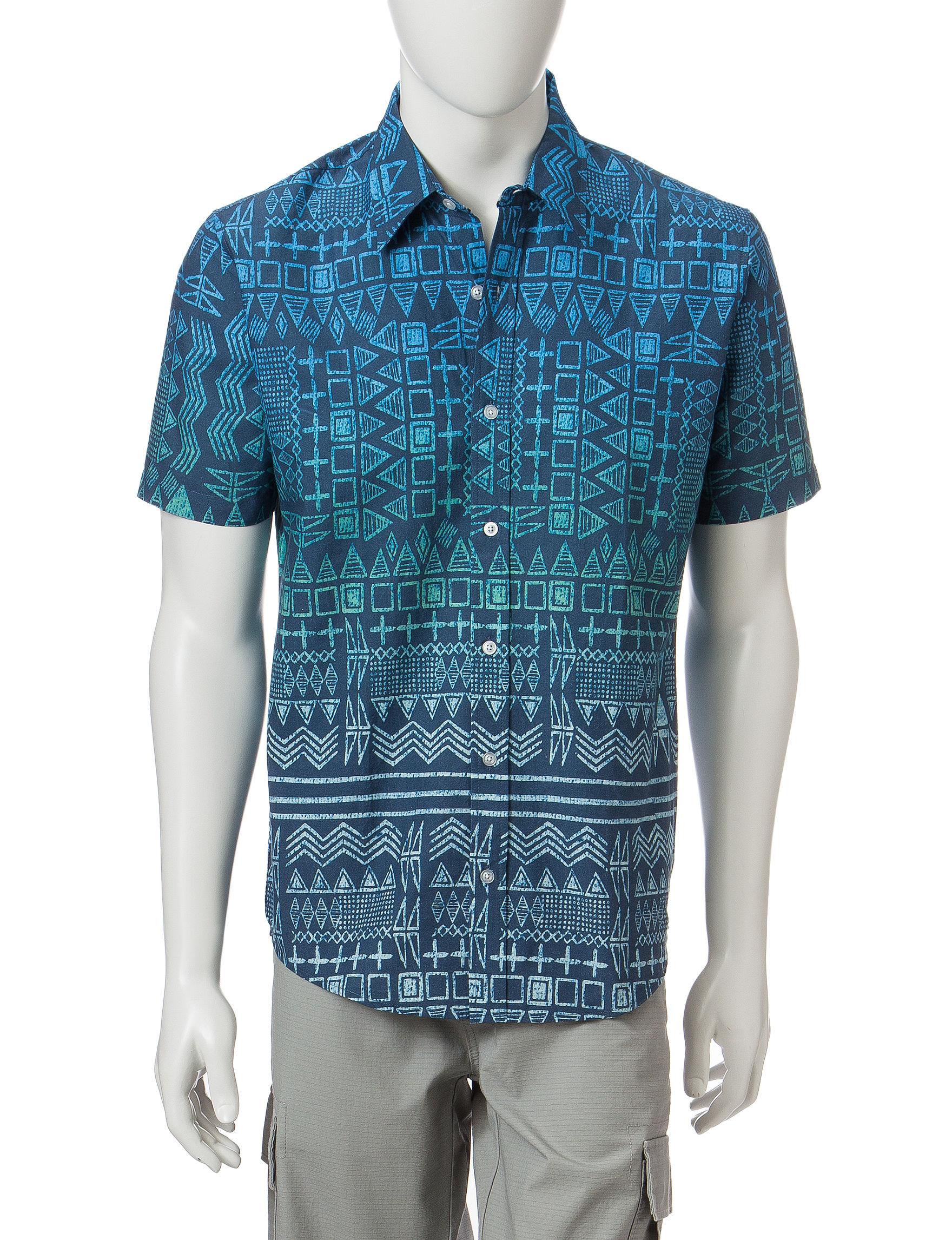 Ocean Current Blue Casual Button Down Shirts