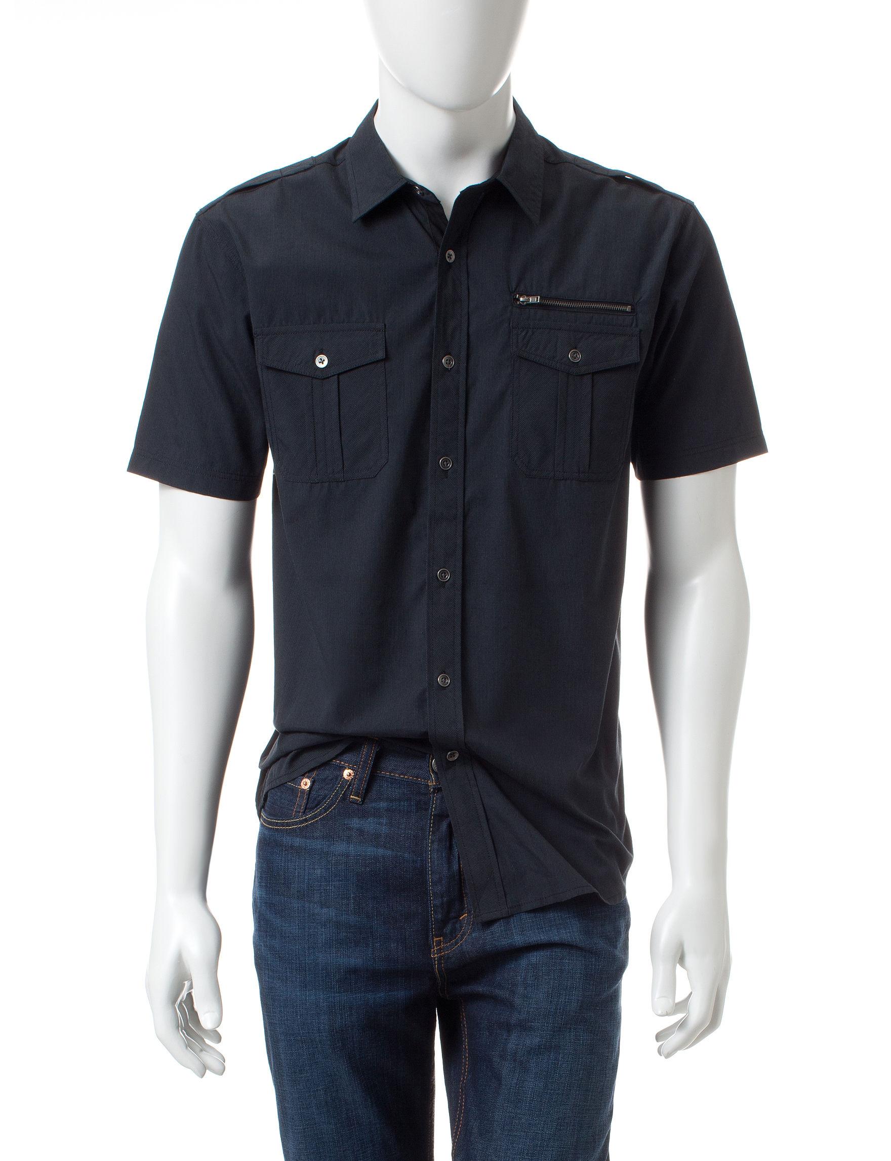 Modern Culture Black Casual Button Down Shirts