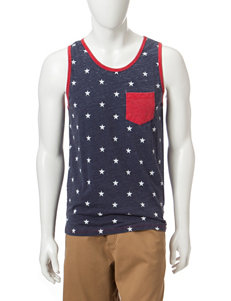 Rustic Blue Star Print Burnout Muscle Tank