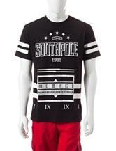 Southpole Black Flock Print Logo T-shirt