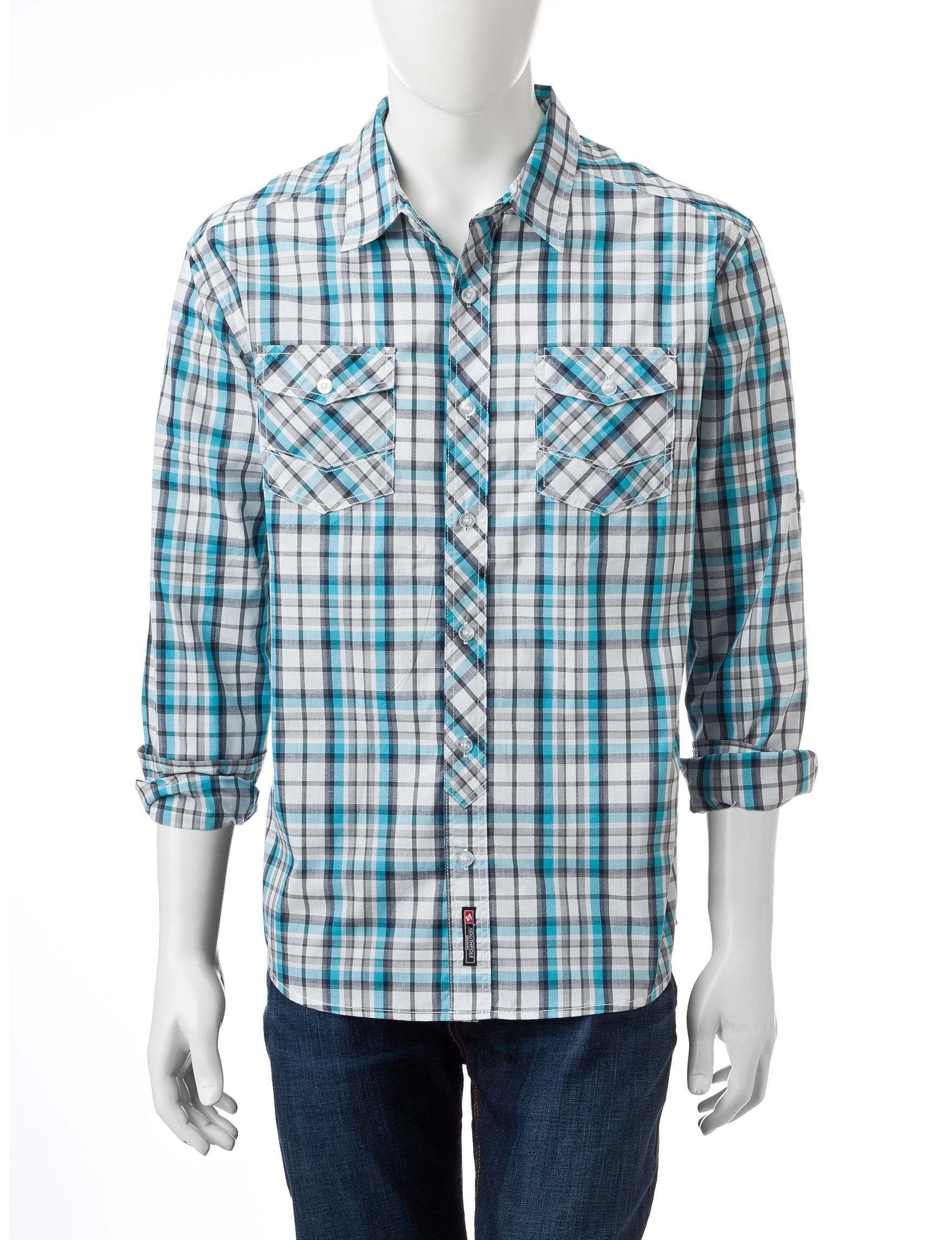 Southpole Teal Casual Button Down Shirts