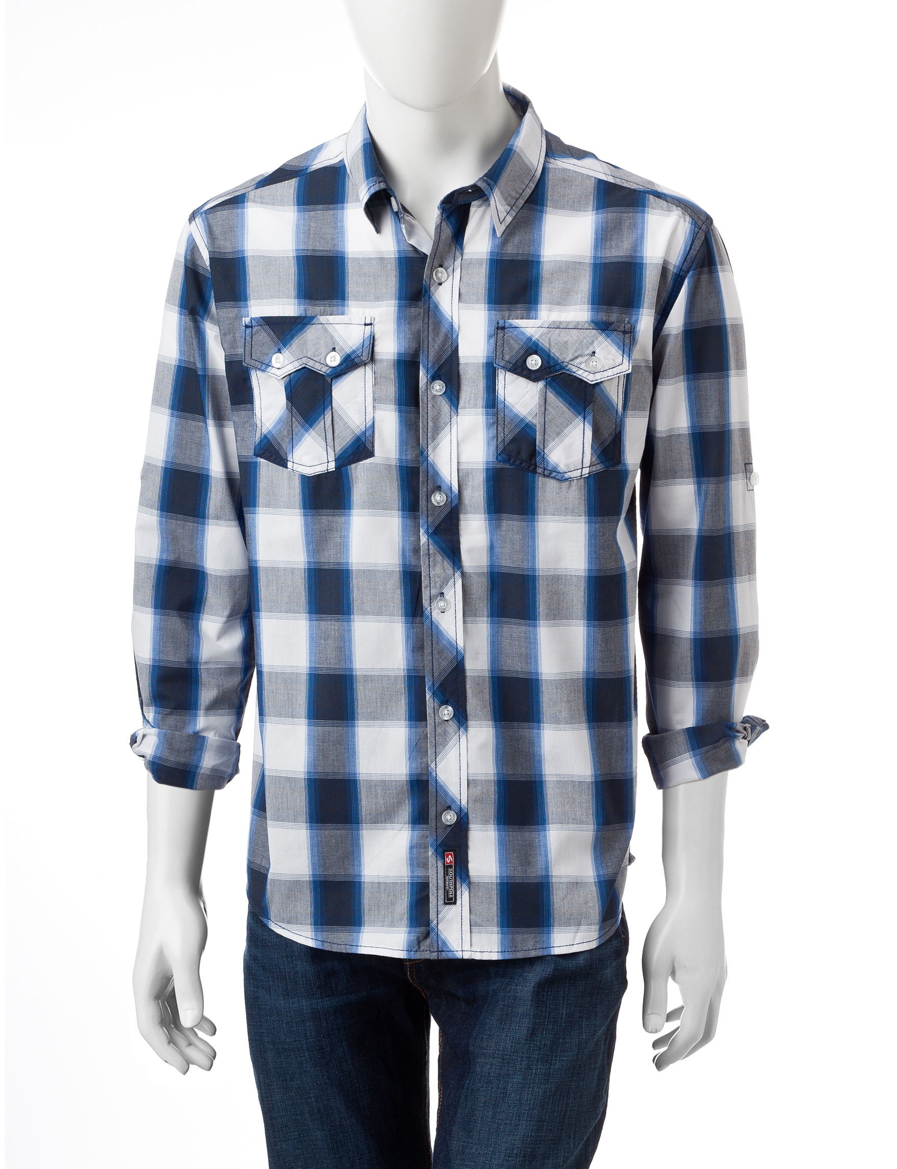 Southpole handsome royal blue plaid woven shirt stage stores for Royal blue plaid shirt mens