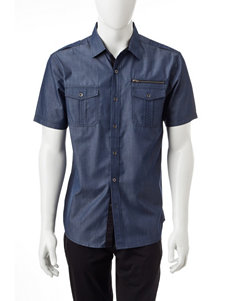Signature Studio Navy Casual Button Down Shirts