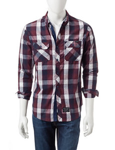 Marc Ecko Red / Navy Casual Button Down Shirts