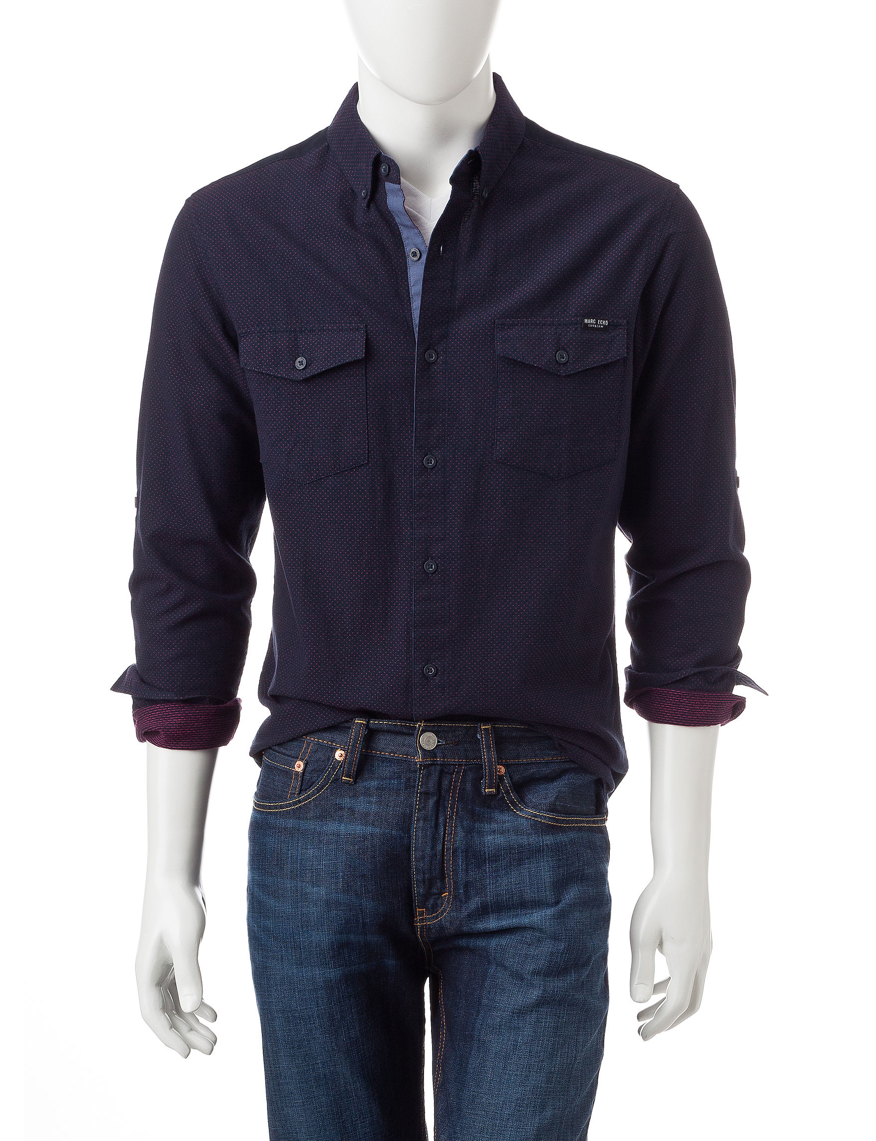 Marc Ecko Navy Casual Button Down Shirts