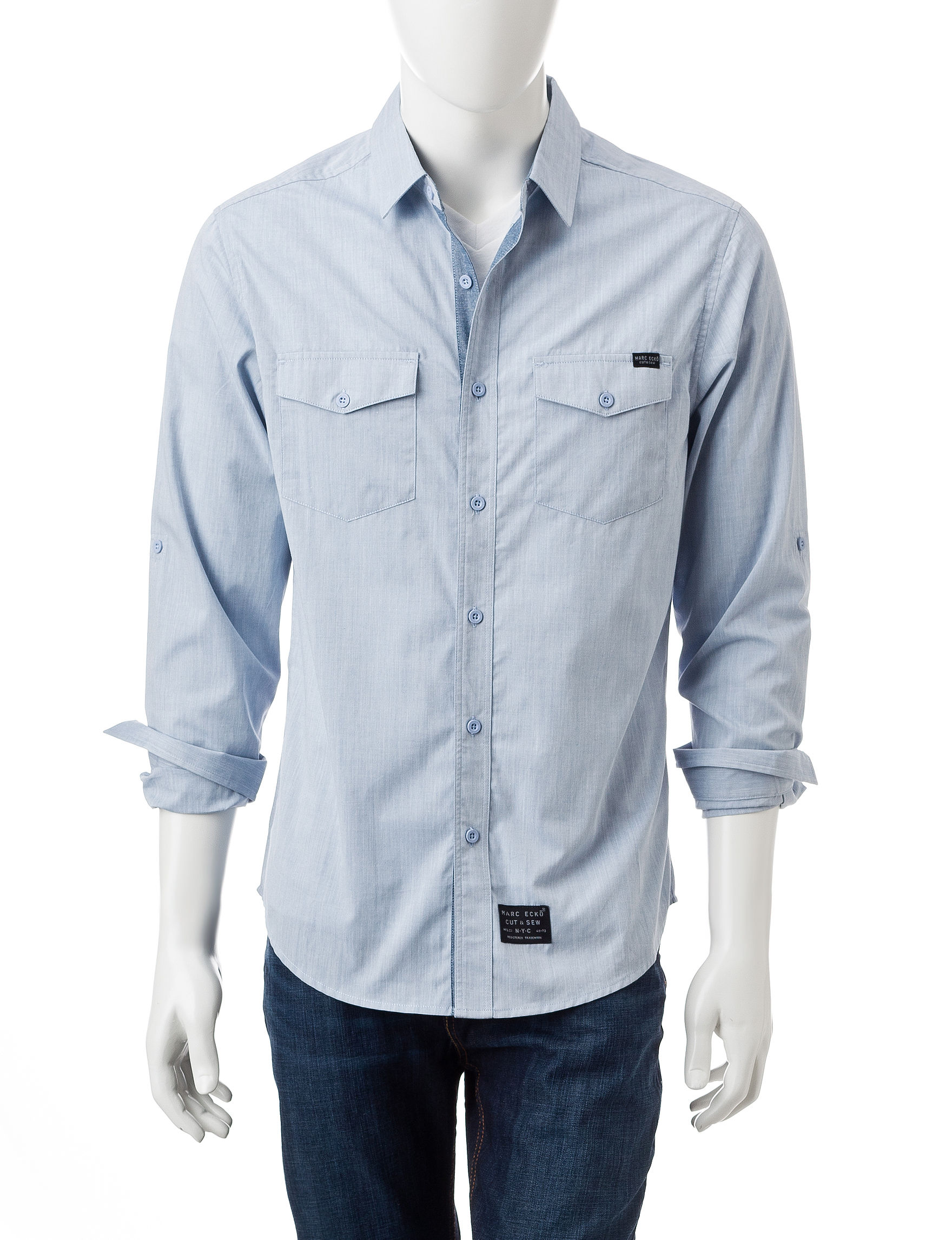 Marc Ecko Light Blue Casual Button Down Shirts