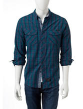 Marc Ecko Teal & Navy Plaid Print Woven Shirt