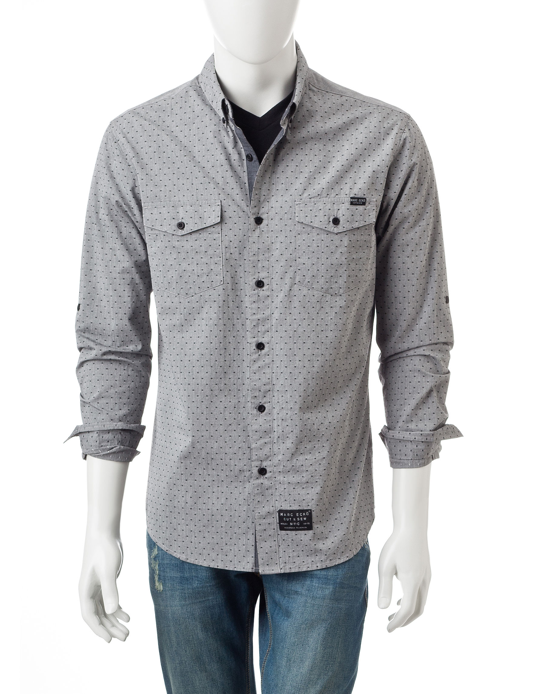 Marc Ecko Grey Casual Button Down Shirts