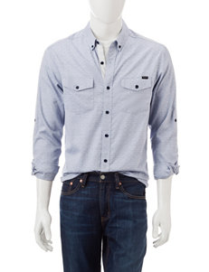 Marc Ecko Blue Casual Button Down Shirts
