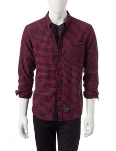 Marc Ecko Dark Red Casual Button Down Shirts