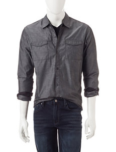 Signature Studio Grey Swiss Dot Print Woven Shirt