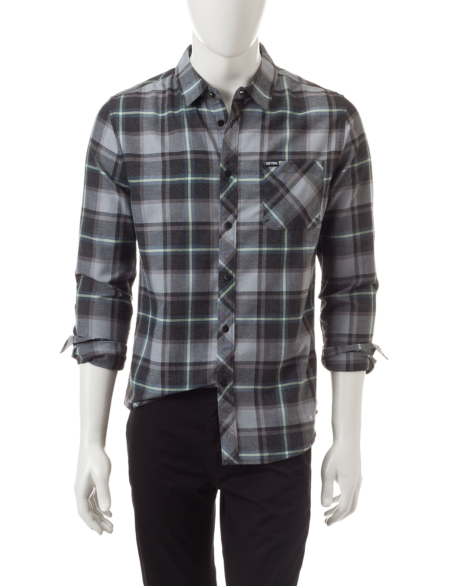 Zoo York Green Casual Button Down Shirts