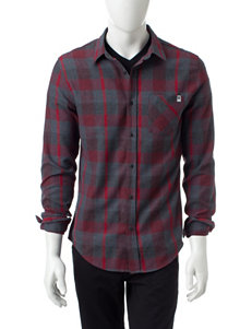 DC Shoes Red Casual Button Down Shirts