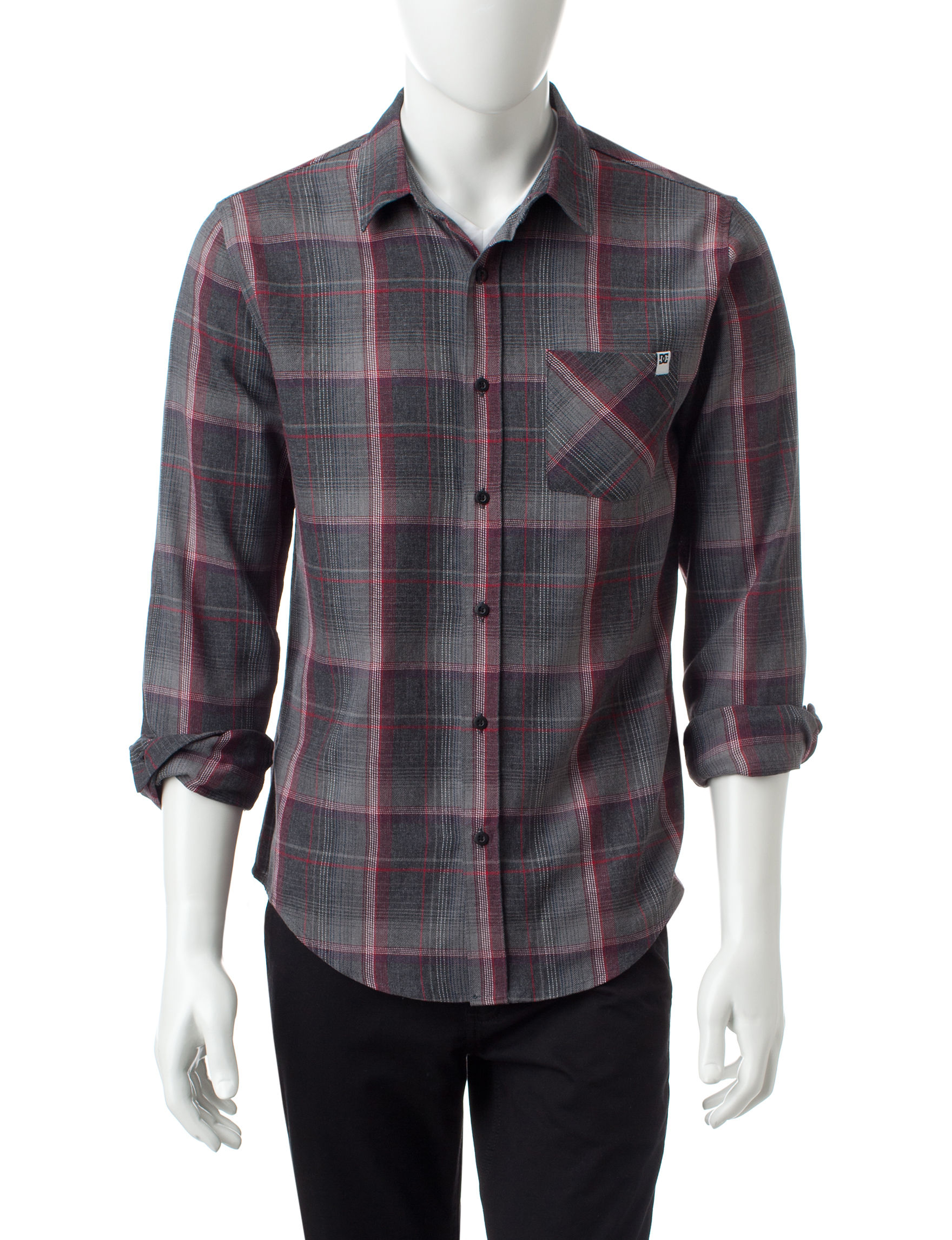 DC Shoes Dark Red Casual Button Down Shirts