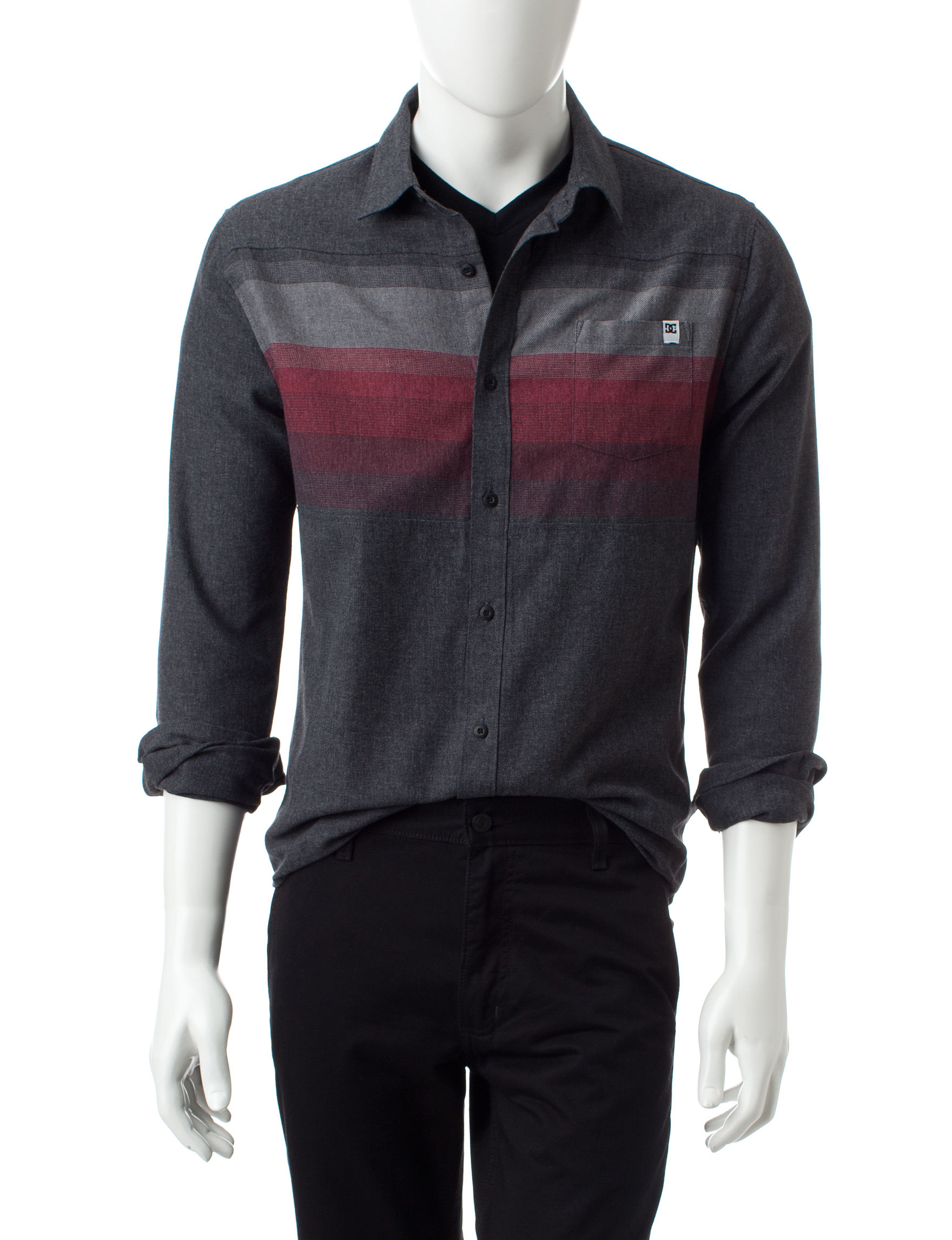 DC Shoes Black Casual Button Down Shirts