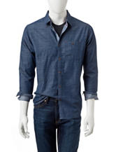 Ocean Current Chambray Graph Print Woven Shirt