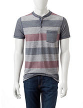 Rustic Blue Rugby Striped Print Henley T-shirt