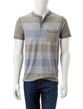 Rustic Blue Rugby Striped Print Shirt