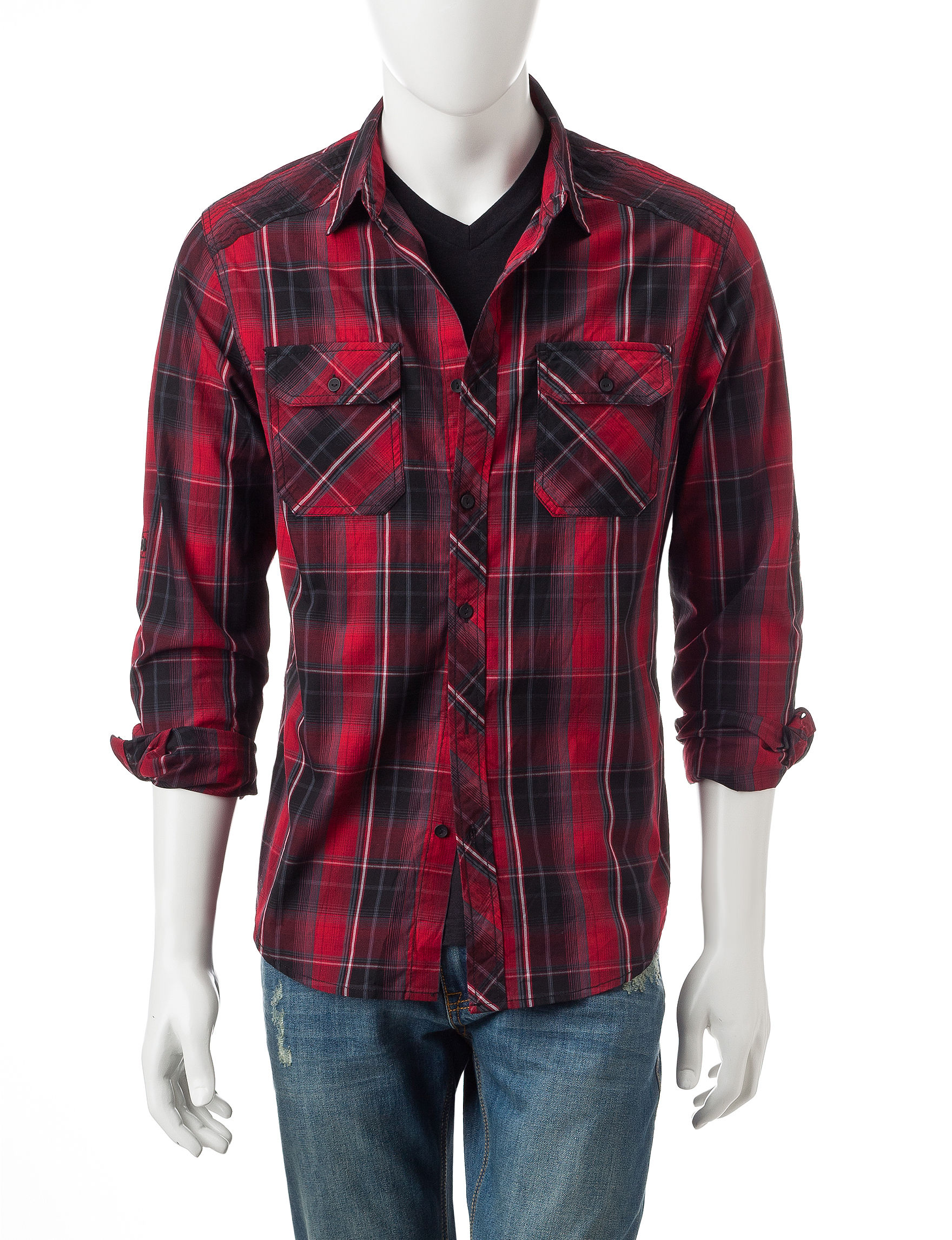 Rustic Blue Chili Pepper Casual Button Down Shirts
