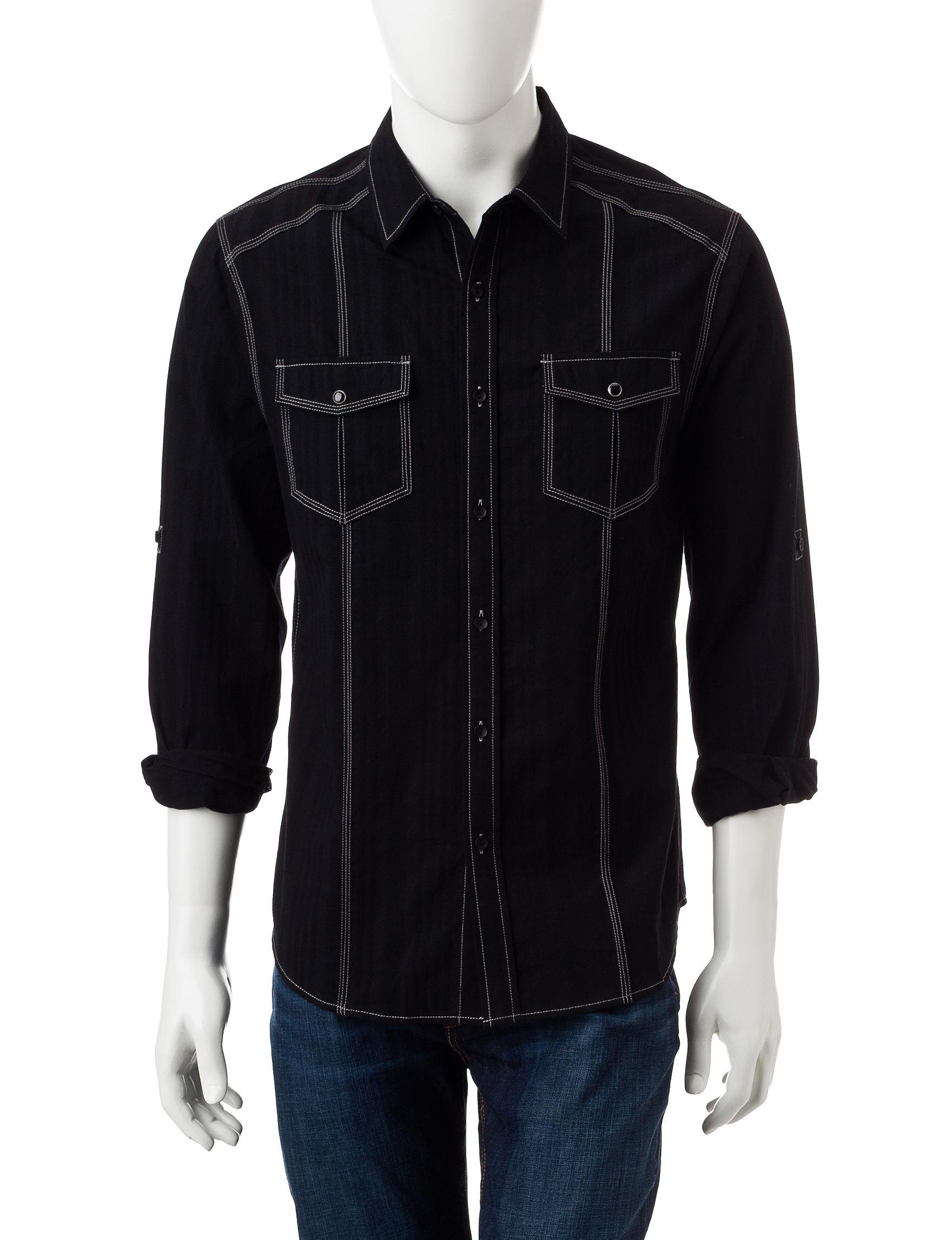 Rustic Blue Black Casual Button Down Shirts