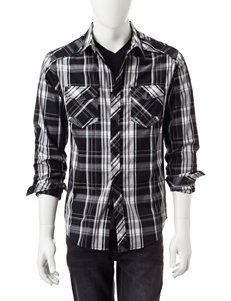 Rustic Blue Black Multi Casual Button Down Shirts