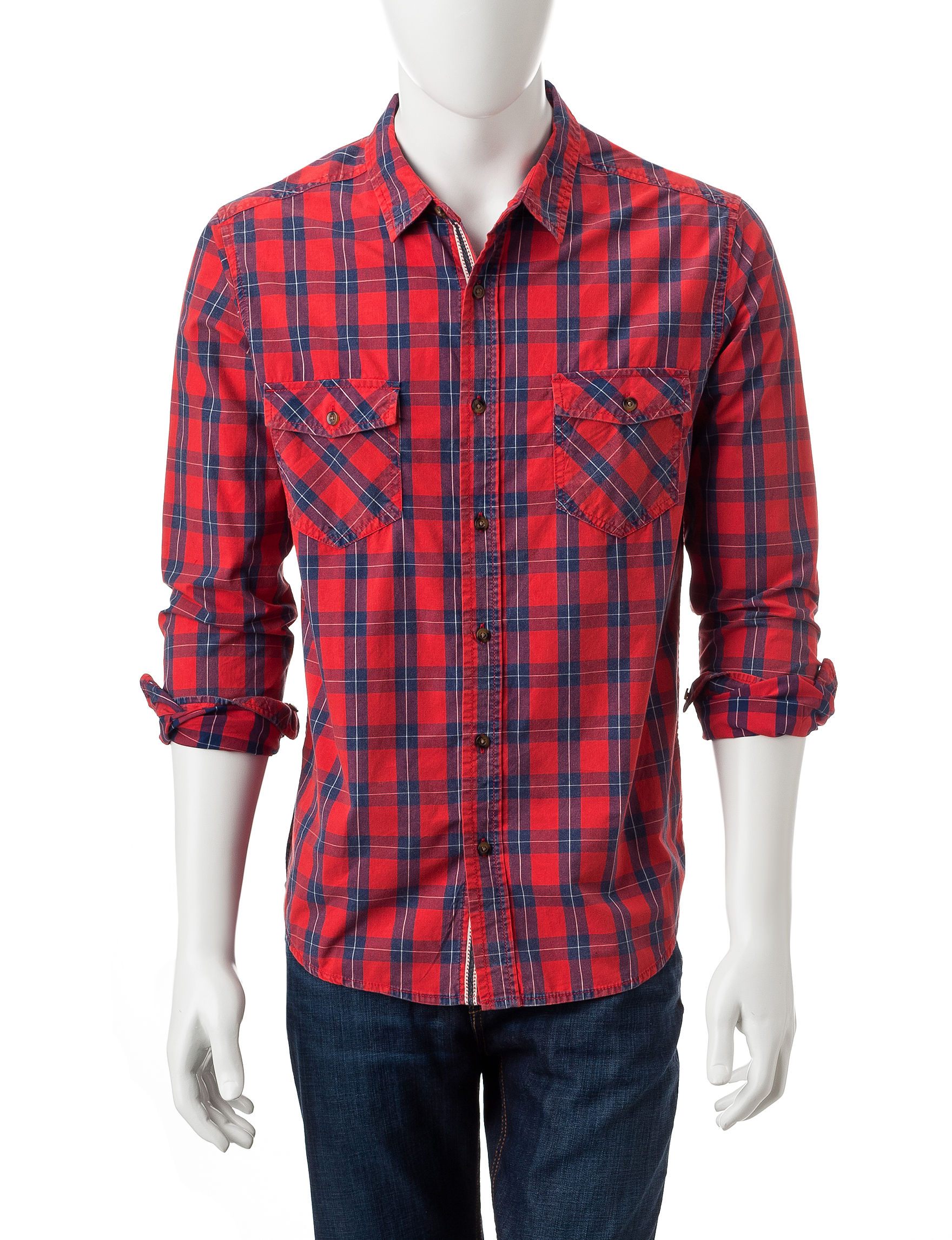 Plugg Red Casual Button Down Shirts
