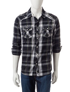 Red Snap Black Casual Button Down Shirts