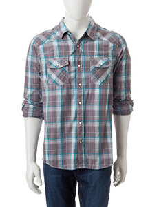 Red Snap Grey Plaid Shirt