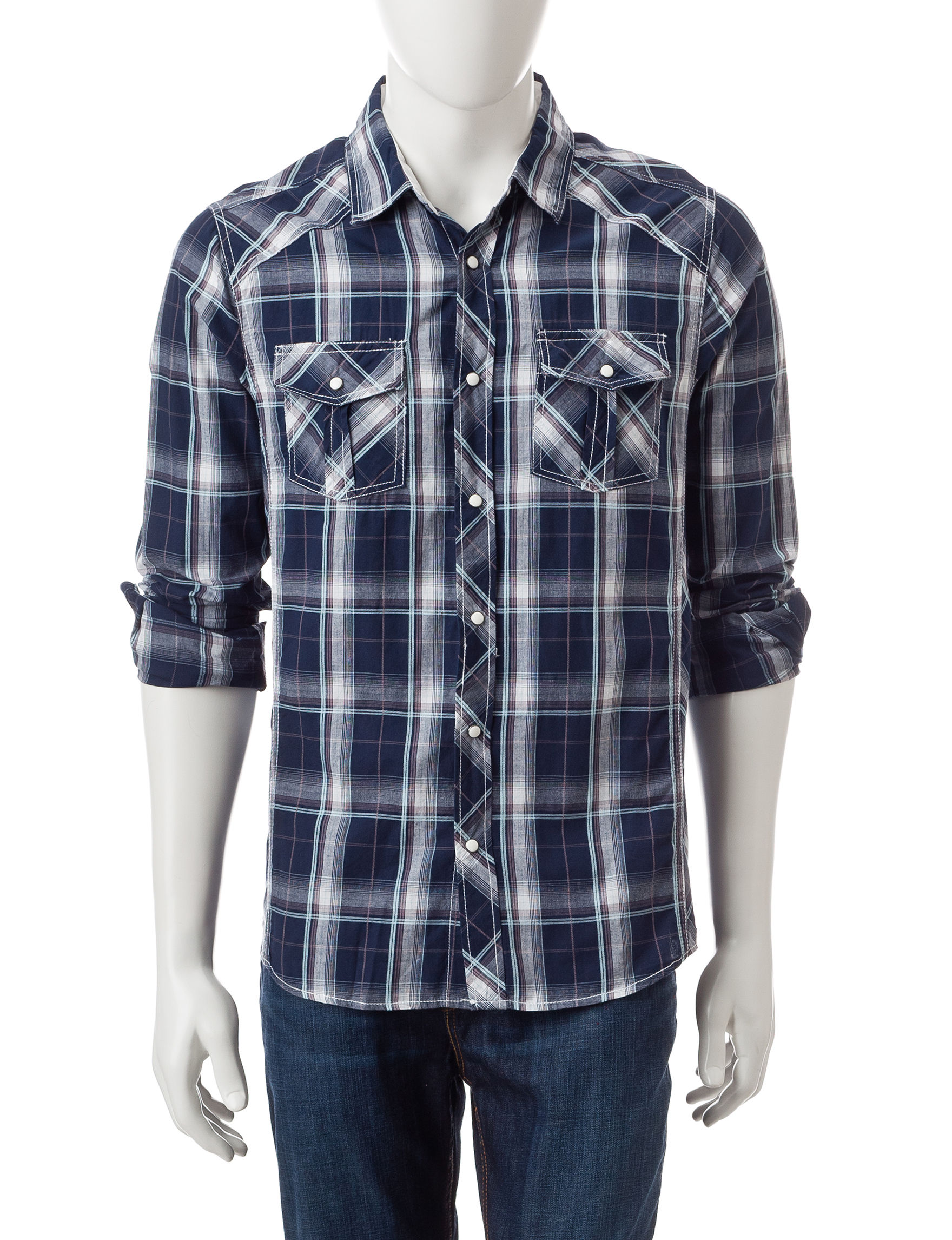 Red snap navy blue plaid shirt stage stores for Navy blue plaid shirt
