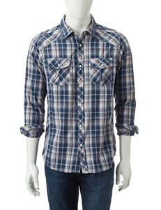 Red Snap Blue & Grey Plaid Shirt
