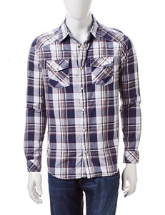 Red Snap Navy &Beige Plaid Print Shirt