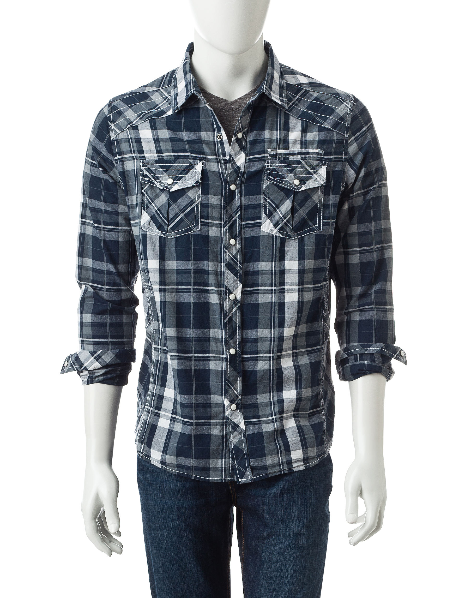 Red Snap Blue Casual Button Down Shirts