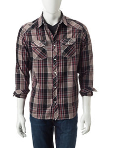 Red Snap Brown & Olive Plaid Print Shirt