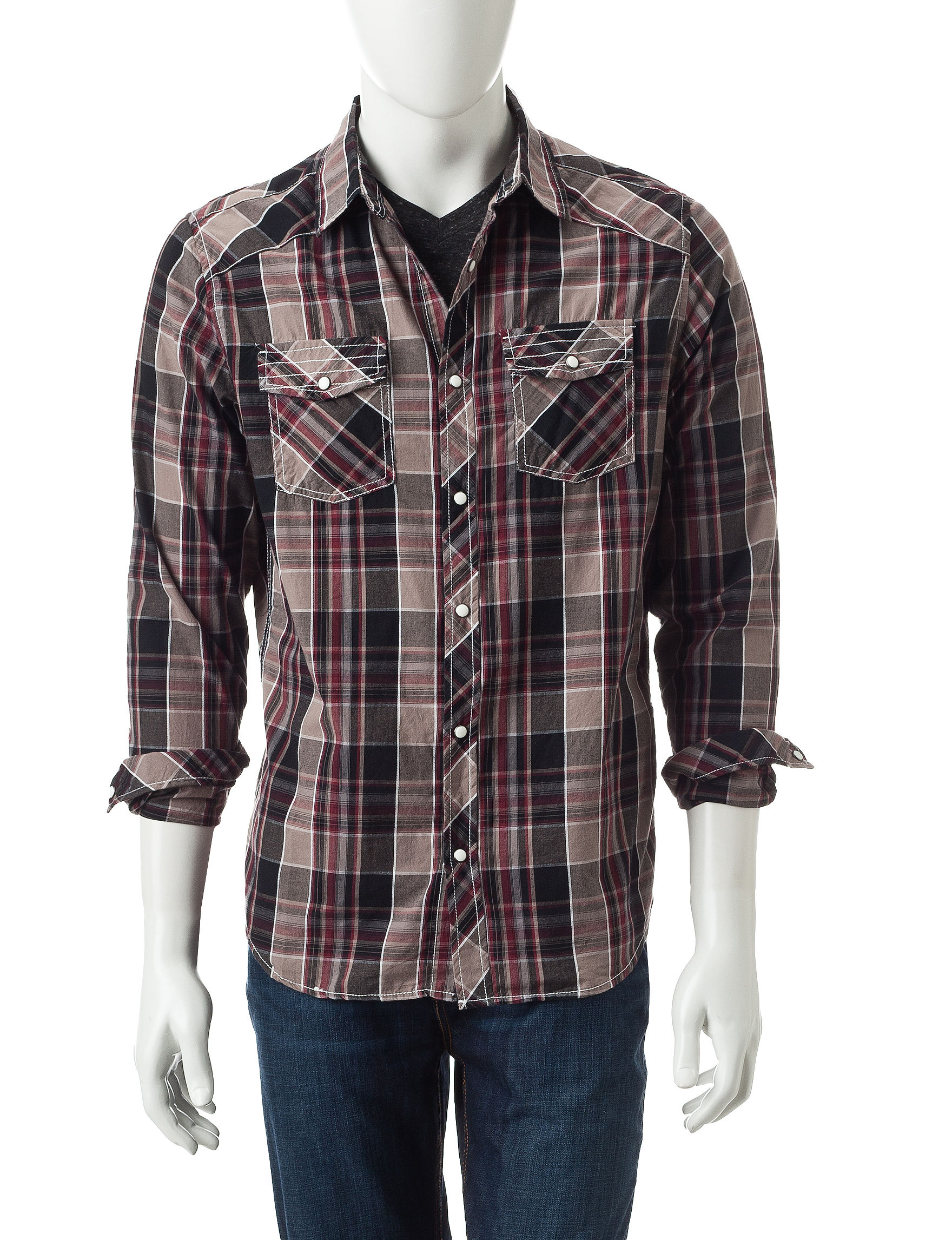 Red Snap Brown Casual Button Down Shirts