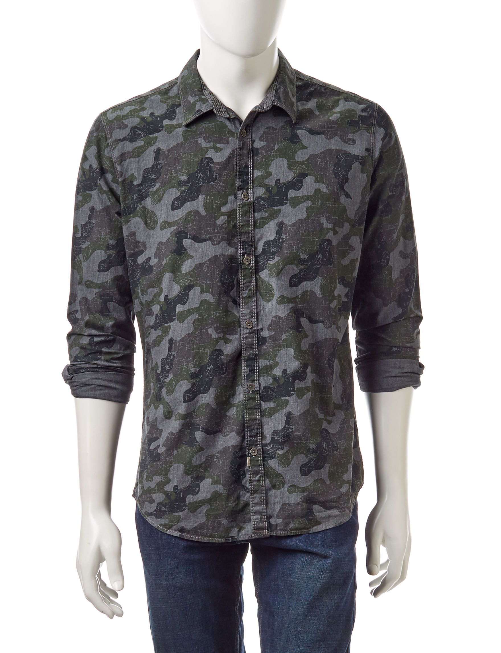 Calvin Klein Grey Casual Button Down Shirts