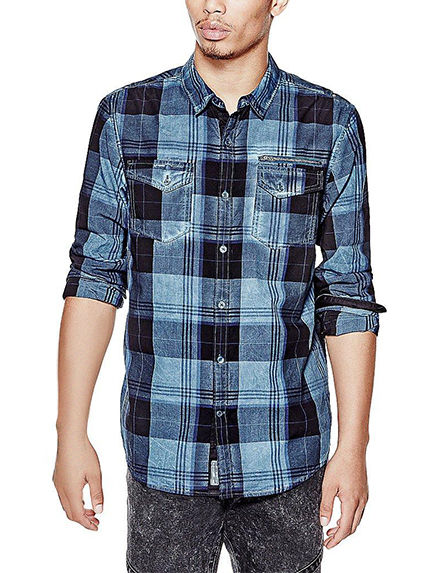 G by Guess Blue Casual Button Down Shirts