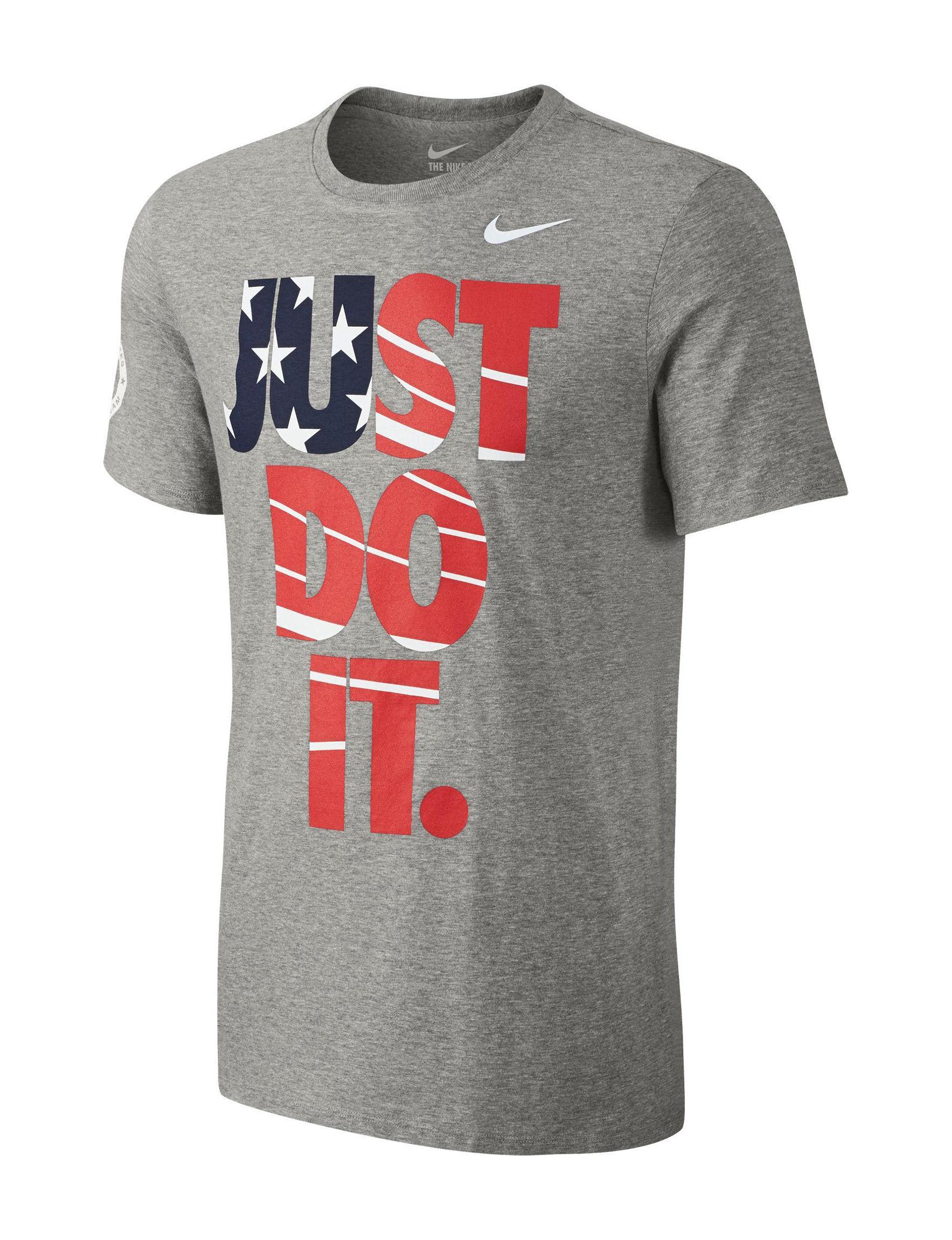 Nike Grey / White Tees & Tanks