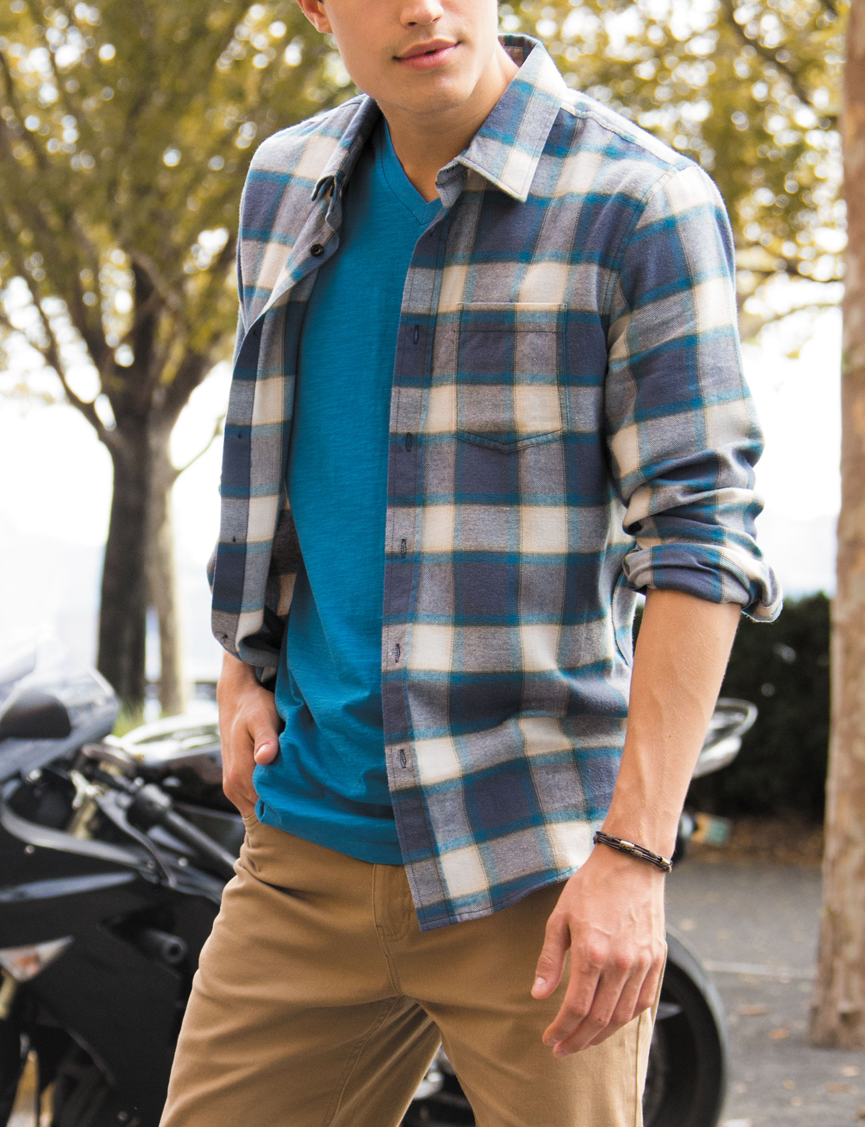 Rustic Blue Seaport Casual Button Down Shirts