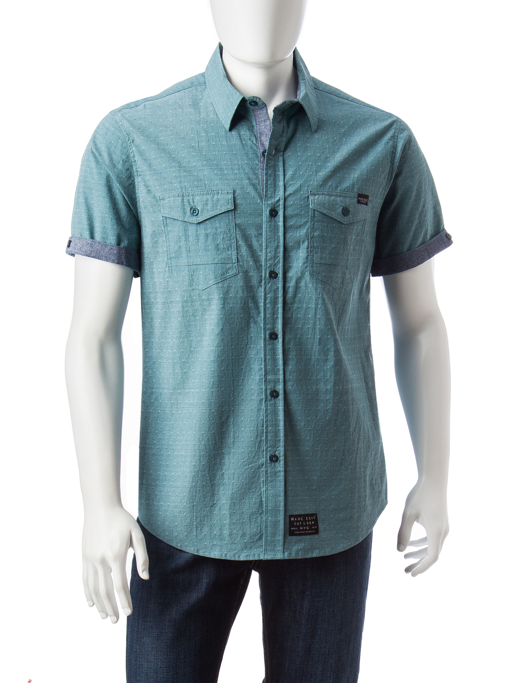 Marc Ecko Deep Teal Casual Button Down Shirts