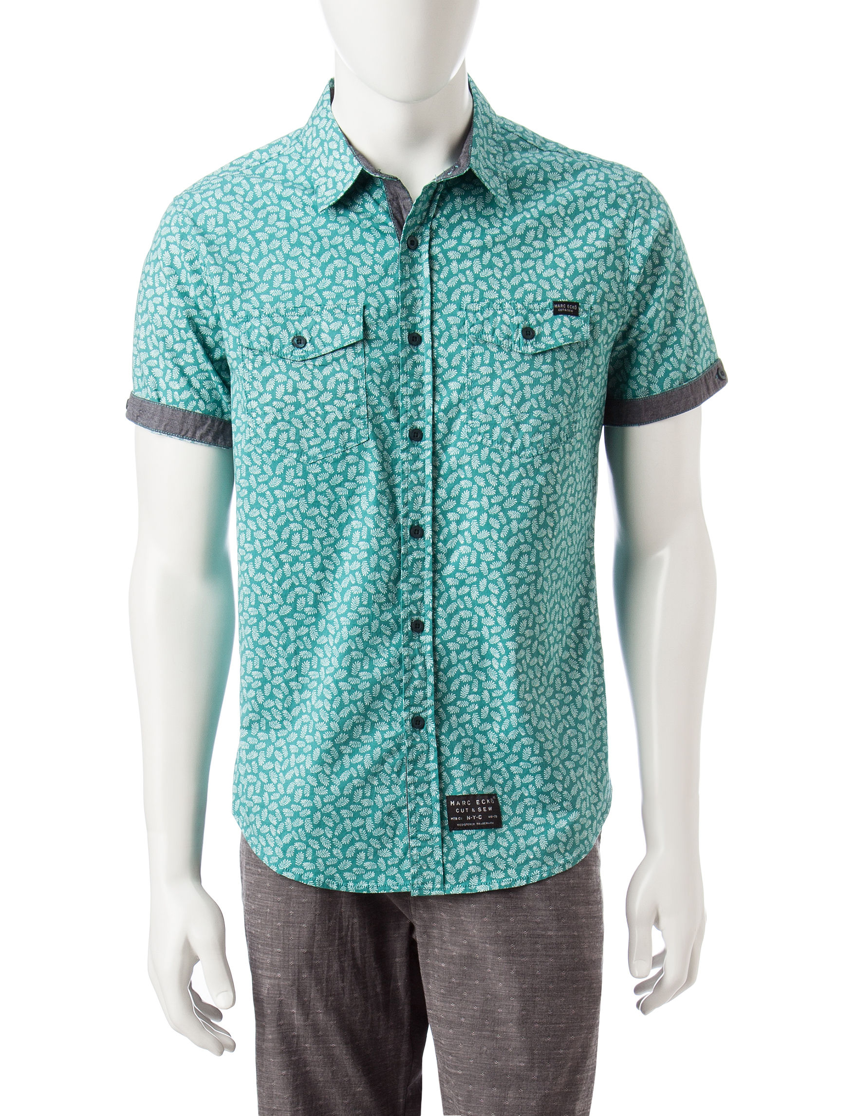 Marc Ecko Teal Casual Button Down Shirts