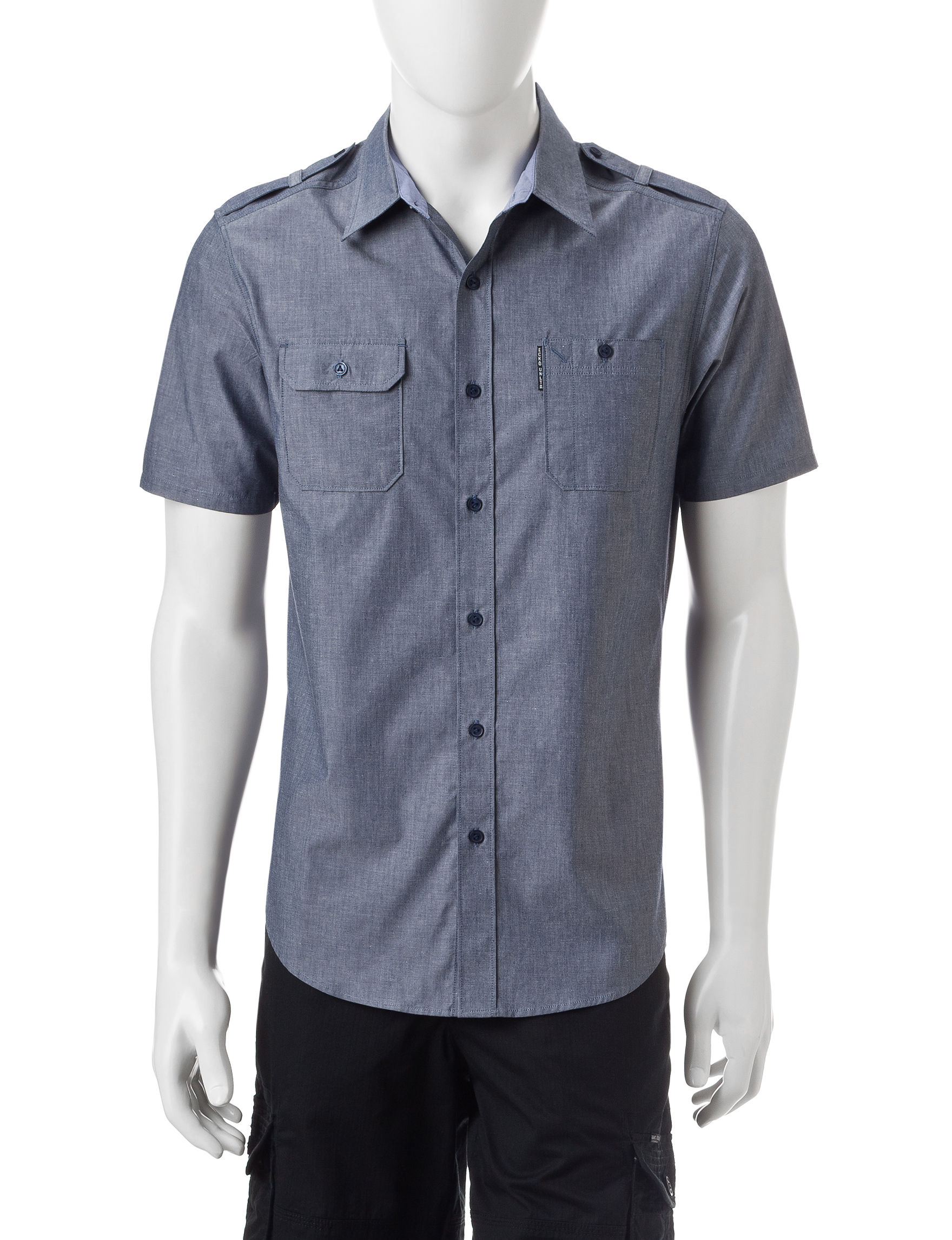Ecko Indigo Casual Button Down Shirts