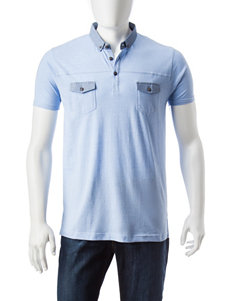 Signature Studio Blue Casual Button Down Shirts