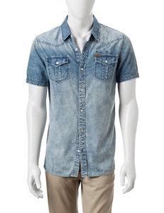 Buffalo Blu Light Blue Casual Button Down Shirts