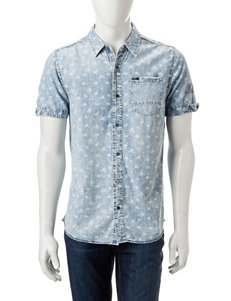 Buffalo Blu Blue / White Casual Button Down Shirts