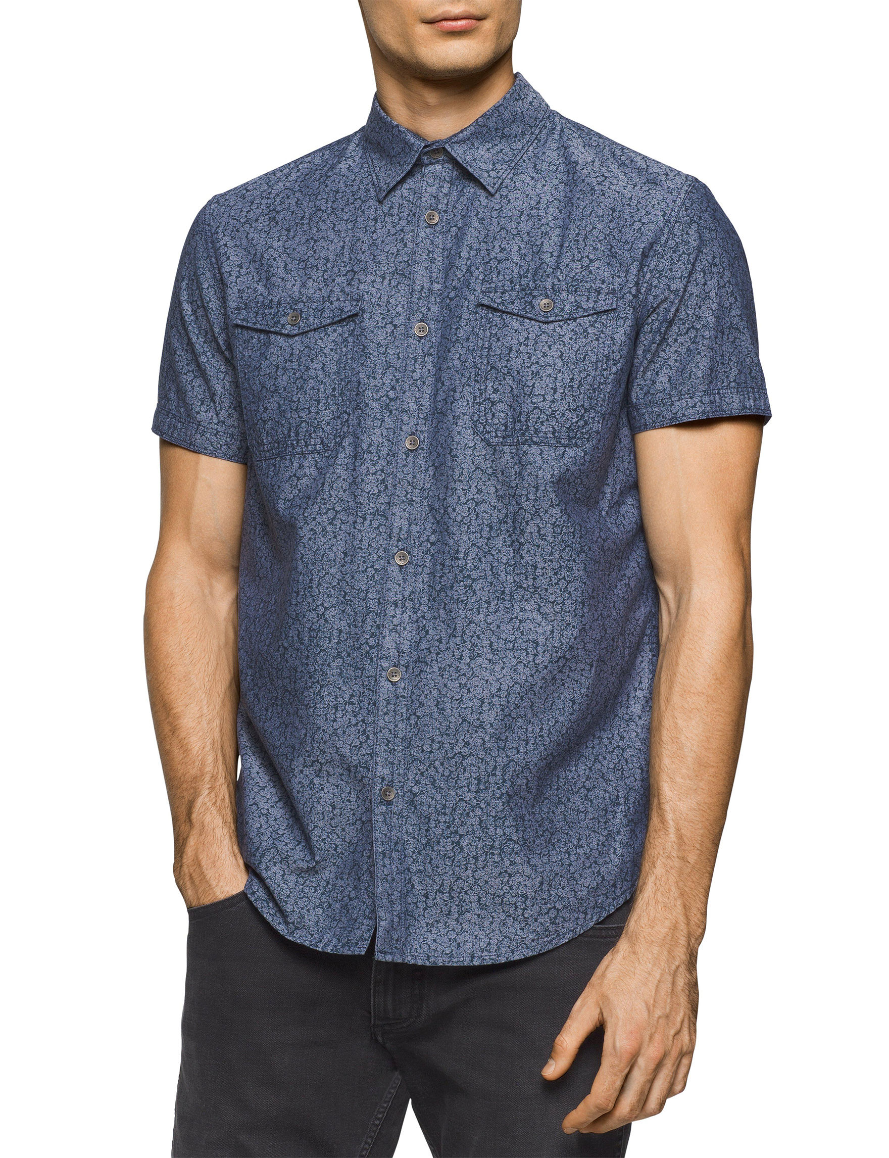 Calvin Klein Navy Casual Button Down Shirts